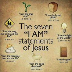 "Bible verses - The seven ""I Am"" statements of Jesus. Christian Life, Christian Quotes, Christian Names, Christian Stories, Christian Crafts, Bible Scriptures, Bible Quotes, Jesus Bible, I Love Jesus"