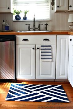 simple pretty kitchen, DIY painted rug
