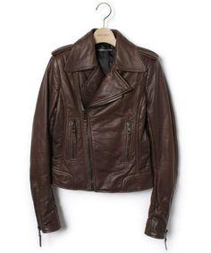 BALENCIAGA(バレンシアガ)の古着「レザーライダースジャケット(ライダースジャケット)」|ブラウン