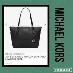Michael Kors Women's Black Jet Set Top-zip Saffiano Leather Tote Bag #MichaelKors #TotesShoppers