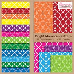 Digital Scrapbook Paper Pack - BRIGHT MOROCCAN PATTERN - Instant Download