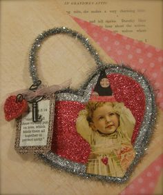 Hand-Made OOAK Vintage Valentine Ornament Holiday Valentine's Day Antique Little Girl by Mary Charles