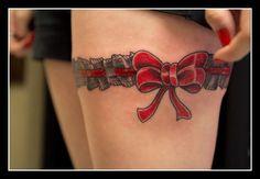 bow garter tattoo