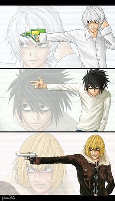 I love the difference between the three of them. It is fantastic to see all the different habits and quirks that Mello and Near picked up from L.