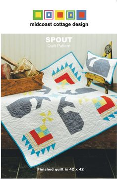 SPOUT- quilt pattern - baby quilt/wallhanging pattern featuring whales and pinwheels