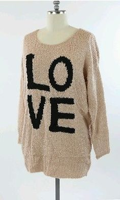 New Dusty Rose Womens Size 3X Plus Crewneck Thick Knit Sweater Love Fall Warm