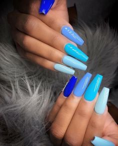In seek out some nail designs and some ideas for your nails? Here's our listing of must-try coffin acrylic nails for stylish women. Blue Acrylic Nails, Summer Acrylic Nails, Blue Coffin Nails, Black Nails, Cool Nail Designs, Acrylic Nail Designs, Colorful Nail Designs, Cute Summer Nails, Spring Nails