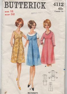 Butterick 4112 l Another adorable maternity dress from the 60s