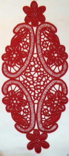 Table Runner Romanian Point Lace Crochet Doily Red by ValeriasShop Filet Crochet, Crochet Doilies, Crochet Lace, Irish Crochet Patterns, Macrame Patterns, Bruges Lace, Romanian Lace, Russian Crochet, Types Of Lace