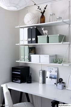 Home office, small space, white, minty green. Simple and minimalistic.