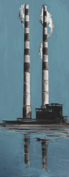Pigeon Towers, Sandymount, Dublin, Ireland, charcoal and oil on canvas, Gerard Byrne, www.gerardbyrneartist.com SOLD