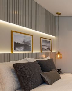 Este posibil ca imaginea să conţină: dormitor şi interior Bedroom Bed Design, Modern Bedroom Design, Modern House Design, Bedroom Wall, Decor Interior Design, Furniture Design, Bedroom Decor, Master Bedroom, Home Suites
