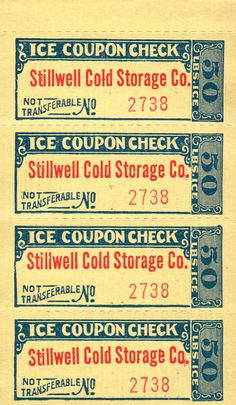 Antique Ice Coupons - Set of 4 by KnickofTime on Etsy