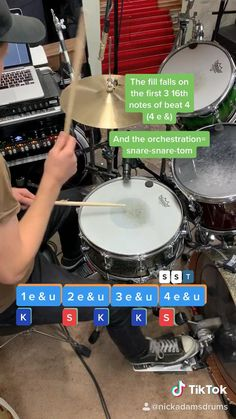 Basic drum lesson that teaches you how to play a drum fill and simple drum beat in 30 seconds Music Lessons For Kids, Music Lesson Plans, Drum Lessons, Guitar Lessons, Music Theory Guitar, Music Chords, Guitar Songs, Ukulele, Drum Sheet Music