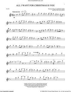 All I Want For Christmas Is You sheet music for flute solo by Walter Afanasieff and Mariah Carey. Score Image Preview.