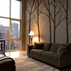 I'm gonna buy these stencils then some floating sgelves to dispkay my owls. Yay!  Winter Trees Wall Stickers