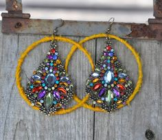 Funky earrings sunny and bright van SillyBeanies op Etsy