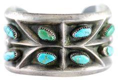 Tufa Stone Cast Silver Navajo Bracelet