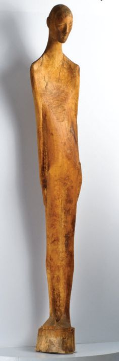 Anonymous, Recovery, c. 1950, carved applewood, 165.1 x 38.1 cm, 65 x 15 ins, collection of AVAM, Baltimore.