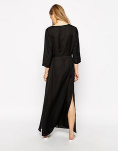 Brave Soul | Brave Soul Button Up Maxi Dress With 3/4 Sleeves