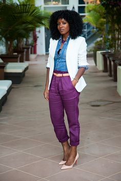 Style Pantry   White Blazer + Denim Shirt + Pegged Pants