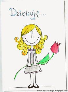 kartka, podziękowania, dziękuję, dziewczynka, kwiatek