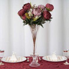 2 Bushes Burgundy / Dusty Rose Silk Artificial Peonies | Artificial Wedding Bouquet