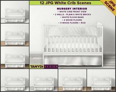 Crib Bedding Photoshop Styled Fabric Mockup 3CBS3 White
