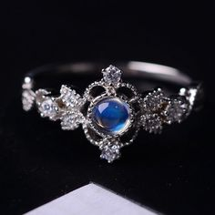 antique art deco blue moonstone engagement ring http://www.jewelsin.com/p-inexpensive-classic-vintage-art-deco-silver-blue-moonstone-cocktail-ring-1247