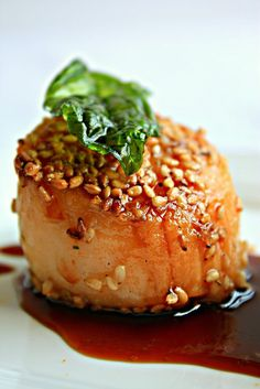 Ingredients | 6-8 Large fresh Maine sea scallops (packed dry scallops not soaked in water)3 Tbs Sesame seeds2 Tbs CornstarchSalt...
