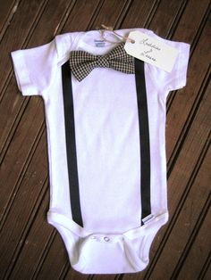Short Sleeve Necktie or Bow Tie Onesie with Suspenders. For all the weddings this year!