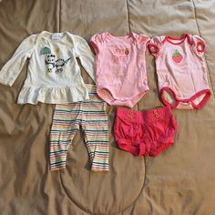 Infant bundle Gymboree infant bundle. Strawberry onesies with pink shorts (o-3 months) & white panda long sleeve top and stripe cotton leggings (3-6 months). Other