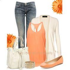 casual spring outfits - orange tank, neutral drape cardigan
