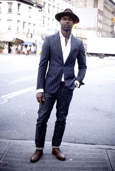 "GQ ""Pinstripe blazer with jeans"" Nice casual look for Concours events and out on the town."