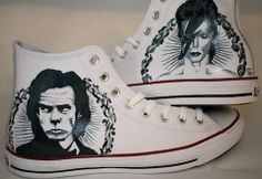 Hand painted Nick Cave/ Bowie chuck Taylors