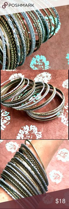 """🐚Set of 21 Blue and Brass Bangles Perfect set of bangles for summer! A mix of sparkly pale blue and ornate brass bangles. Light and easy to wear just about anything. 2 3/4"""" diameter. Jewelry Bracelets"""