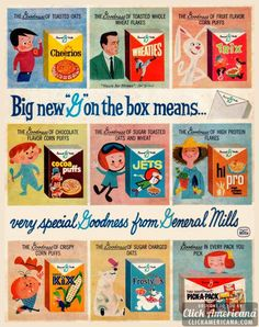 General Mills vintage cereal packaging-- a good use of capitalization that isn't SHOUTING Old Advertisements, Retro Advertising, Retro Ads, Advertising Campaign, Advertising Design, Retro Recipes, Vintage Recipes, Photo Vintage, Retro Vintage