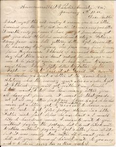 Civil War letter of John King to his brother. page 1
