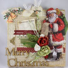 """""""Merry Christmas"""" Canvas by Linda Thompson. Christmas Canvas, Merry Christmas, Linda Thompson, Christmas Scrapbook, Xmas Cards, Bloom, Santa, Gift Wrapping, Paper"""
