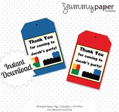 Editable Lego Party Favor Tags  Instant Download  by yummypaper