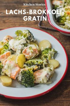 Lachs-Brokkoli-Gratin Schnelles und gesundes Essen geht auch ga… Salmon Broccoli Gratin eat and drink Fast and healthy food is easy too – like this delicious one # gratin. Salmon Recipes, Fish Recipes, Lunch Recipes, Whole Food Recipes, Vegetarian Recipes, Cooking Recipes, Healthy Recipes, Broccoli Gratin, Broccoli Bake