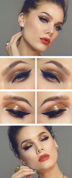 A bronze eye and red lip, the perfect party makeup look!