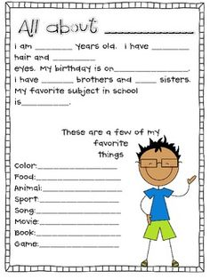 Getting to Know you sheets - Miss Nelson - TeachersPayTeachers.com