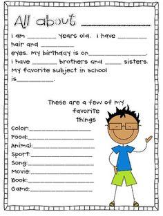 Getting to Know you sheets - Miss Nelson - TeachersPayTeachers.com