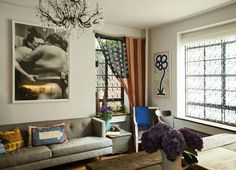Home by Novogratz living room Window Coverings, Window Treatments, Noguchi Coffee Table, Flag Decor, Apartment Living, Apartment Therapy, Home And Living, Living Spaces, Living Area