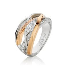 Journey Collection - A custom cut White marquise & round Argyle Pink Diamond RIng crafted in 18 ct White & Rose Gold