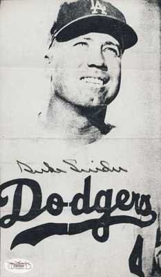 DUKE SNIDER DODGERS SIGNED PHOTO AUTO HOF JSA COA . $25.00. DUKE SNIDER HAND SIGNED PHOTO~AUTO~HOF~JSA COA Photo Description DUKE SNIDER HAND SIGNED PHOTO. CLICK ON IMAGE FOR CLEARER AND LARGER VIEW. SIGNATURE IS AUTHENTICATED BY JAMES SPENCE AUTHENTICATION (JSA). CERTIFICATE OF AUTHENTICITY (COA) INCLUDED TO MATCH NUMBERED STICKER ON ITEM. JSA COA #E60324 ITEM PICTURED IS ACTUAL ITEM RECEIVED. Shipping and Payment
