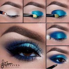 Motives® Khol Eyeliner - Engel - Make-up Ideen - Eye Make up Makeup Eye Looks, Eye Makeup Steps, Blue Eye Makeup, Beauty Makeup, Hair Makeup, Blue Eyeshadow For Brown Eyes, Blue Eye Shadow, Eye Makeup Diy, Angel Makeup