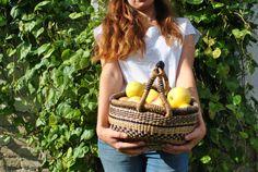 Sisal bag, large sisal bag, large sisal market bag, woven bag, woven basket bag, sisal leather bag, sisal shopper, sisal leather basket bag