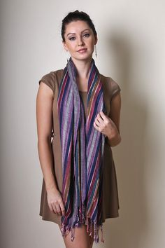 Women's Jewel Shimmer Multicolor Stripe Glamour Scarf (Turquoise) at Amazon Women's Clothing store: Fashion Scarves, Fashion Scarves, stripe scarf, glitter scarf, shimmer scarf, silver stripe, multicolor shawls, wraps, dressy scarf, pretty shawl, ladies bestselling scarves, anika dali scarf, blue scarf, holiday gifts, holiday scarf, gold, glamour, formal womens scarves, affordable scarf
